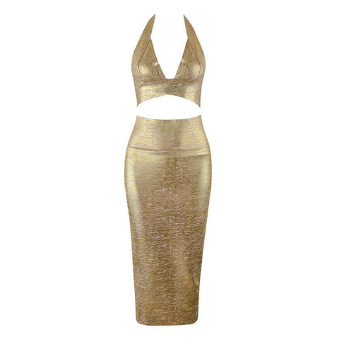 Bandage Halterneck Slinky Midi Dress Suit gallery 4