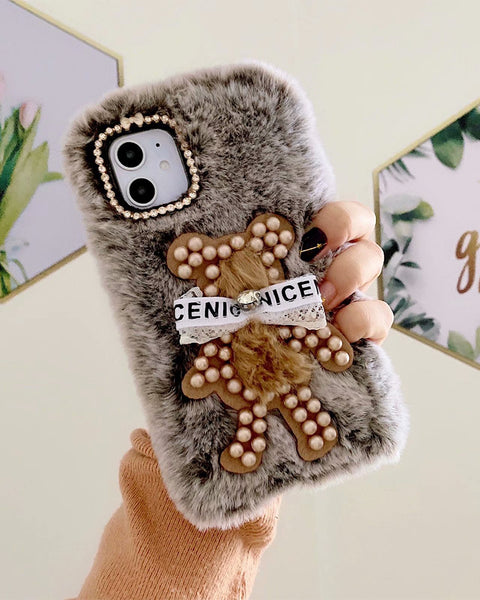 Fluffy Bear Pearl & Bowknot Decorated iPhone Case