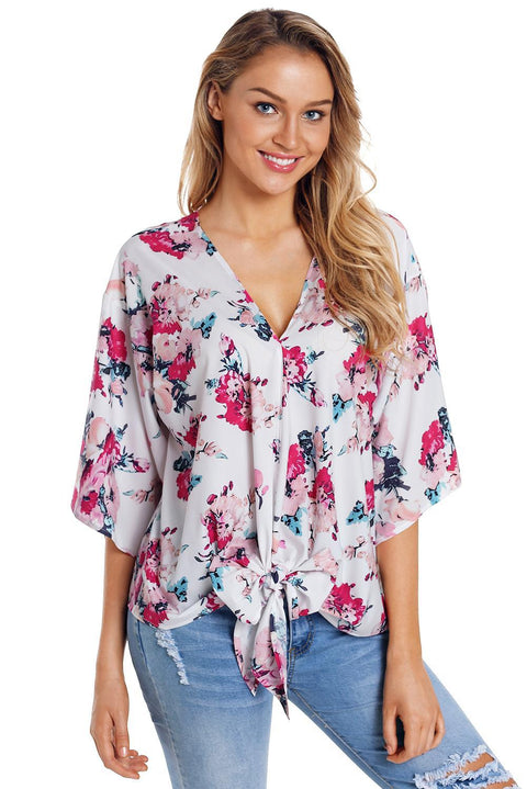 Floral Print Tie Front Kimono Sleeve Blouse gallery 5