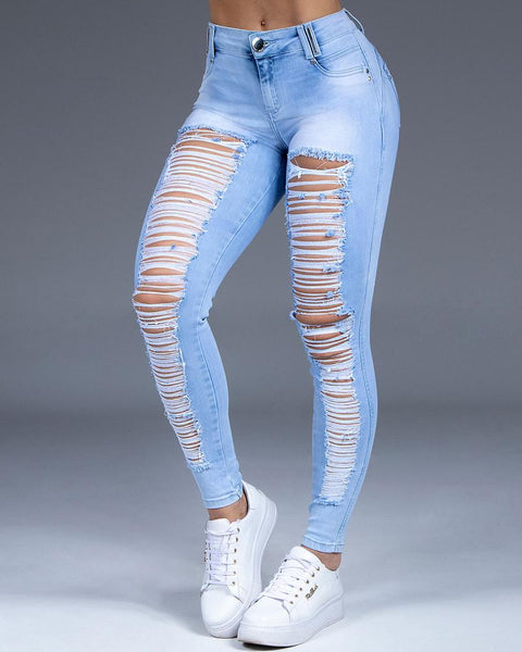 Extreme Distressed Stretch Butt Lifting Skinny Jeans gallery 1