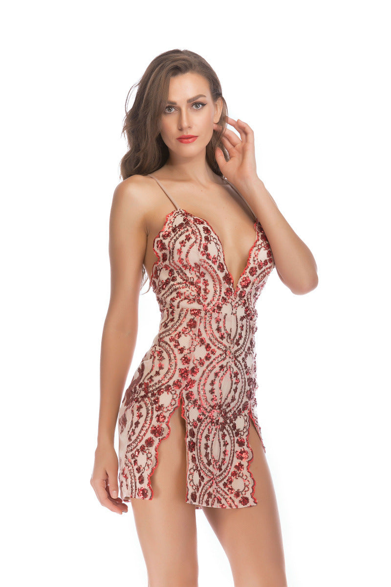 Sexy Plunge Sequin Split Hem Cross Back Mini Dress