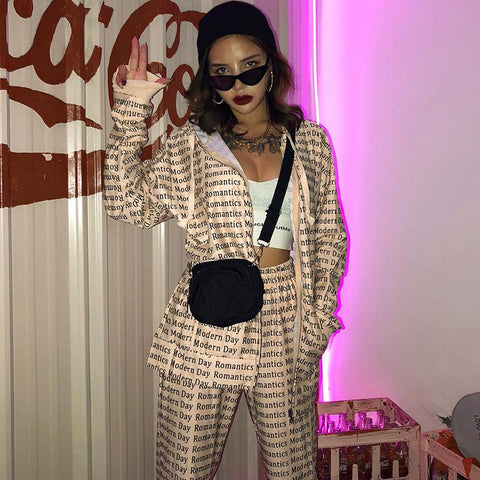 Casual Oversize Literal Print Long Sleeve Hooded Two Piece Suit