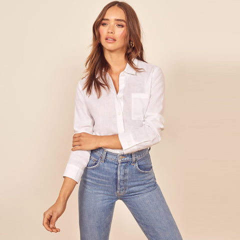 Solid Button Front Long Sleeve Shirt