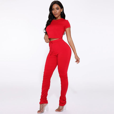 Round Neck Ruched Side Drawstring Waist Top & Pants Set gallery 16