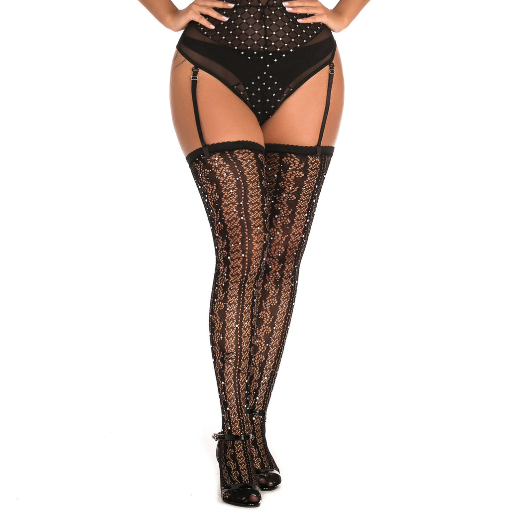 Seductive Desire Diamond Floral Lace Fishnet Stockings