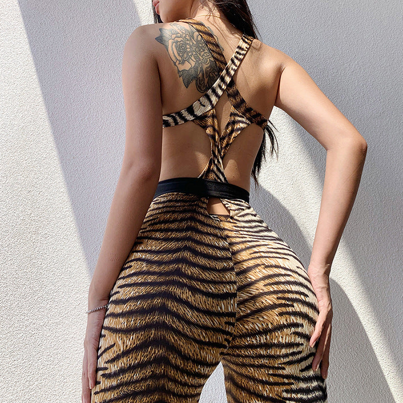 Tiger Striped Backless Criss Cross Skinny Sports Outfits