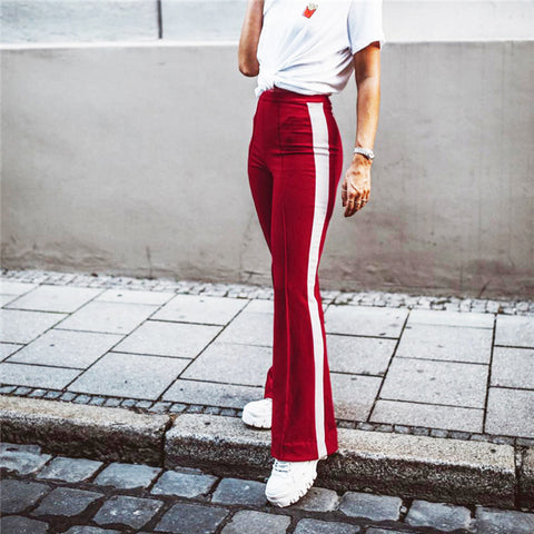 Contrast Tape Side High Waist Flare Pants