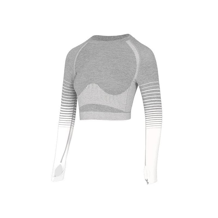 Seamless Striped Crop Sports Top with Thumb Holes gallery 7