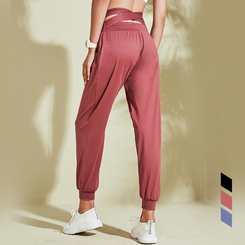 Cross Back High Waist Casual Fit Joggers