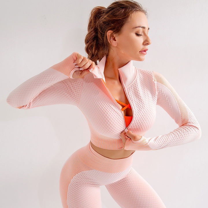 Zip Up Seamless Striped Crop Sports Top gallery 4