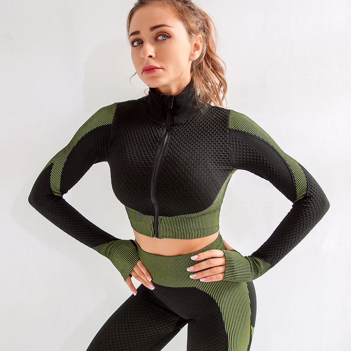 Zip Up Seamless Striped Crop Sports Top gallery 3