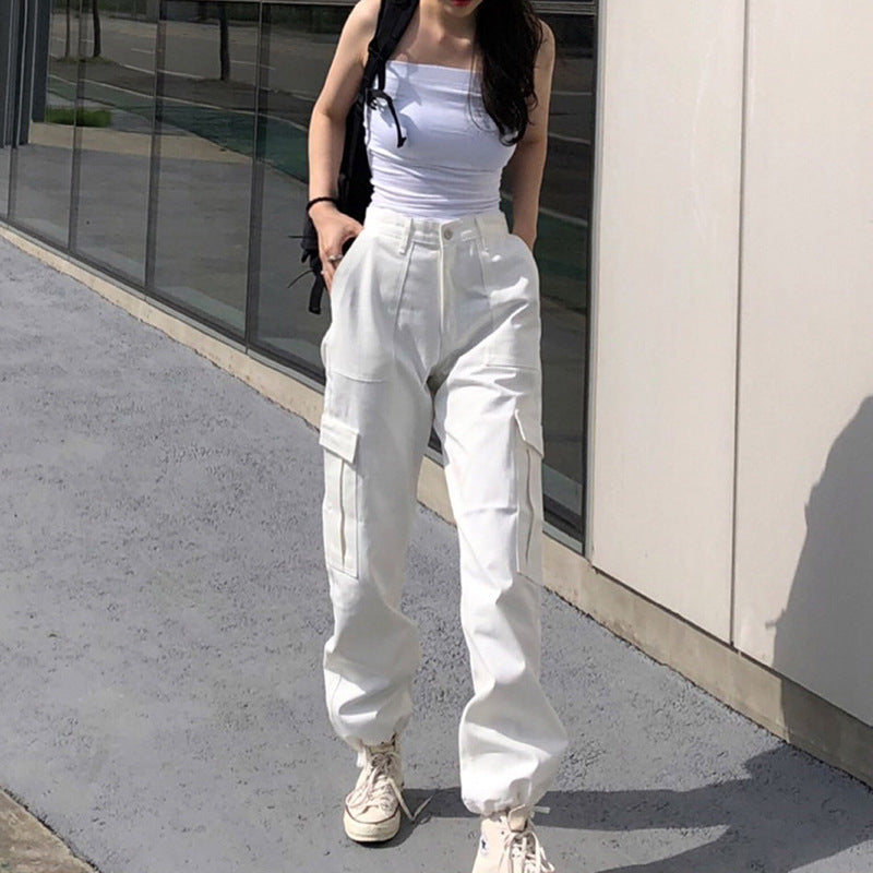 Solid Flap Pocket High Waist Joggers