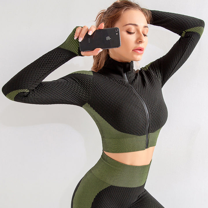 Zip Up Seamless Striped Crop Sports Top gallery 2