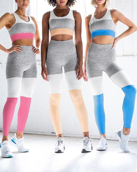 Seamless Stretchy Active Colorblock 2-Piece Workout Set