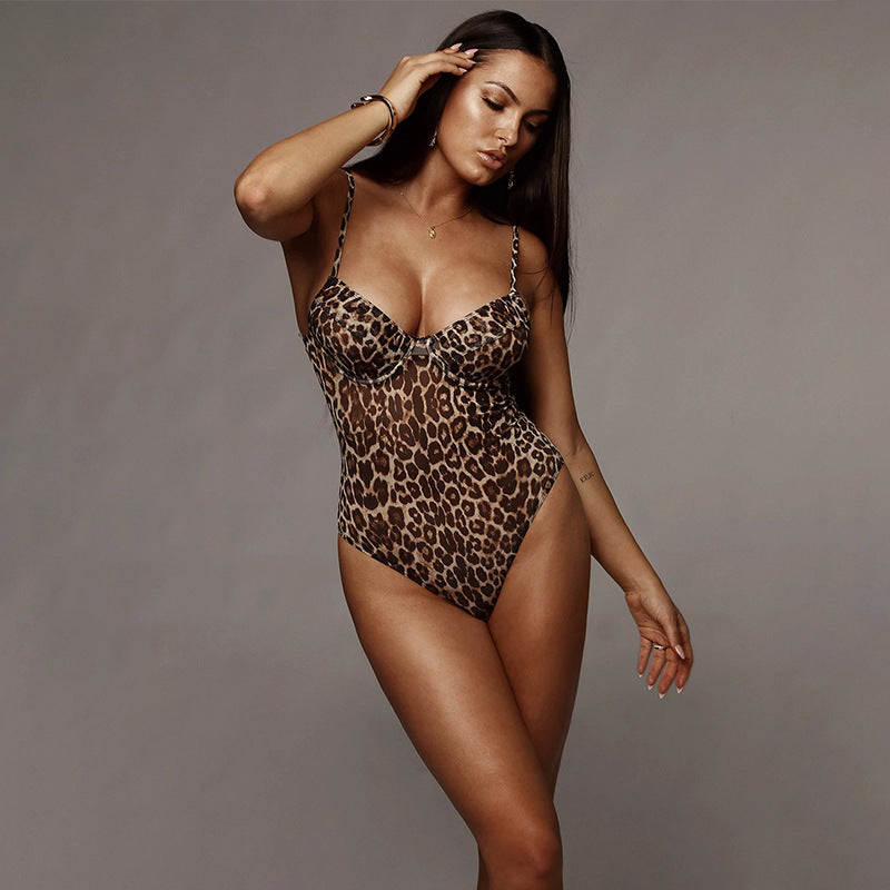 Sexy Fitted Cami Strappy Leopard Print Teddy Lingeries