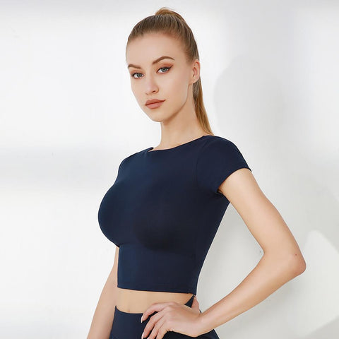 Cap Sleeve Cut Out Seamless Workout Crop Top gallery 3