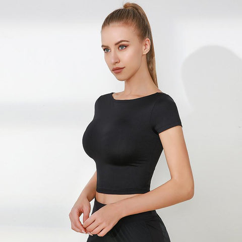Cap Sleeve Cut Out Seamless Workout Crop Top gallery 5