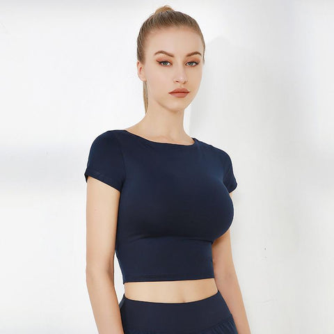 Cap Sleeve Cut Out Seamless Workout Crop Top gallery 4