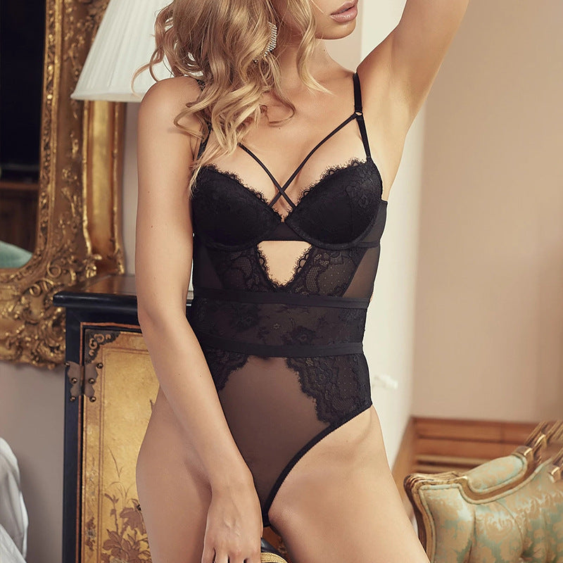 Sexy Criss Cross Eyelash Lace Stitching Teddy Bodysuit