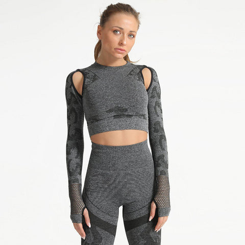 Camo Print Cut Out Crop Sports Top
