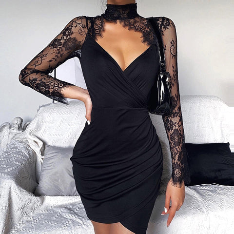 Lace Stitching Cut Out Front Ruched Mini Dress