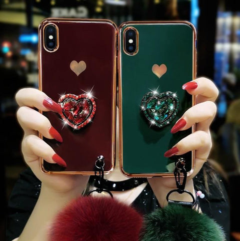 Electroplate Heart Rhinestone iPhone Case with Phone Holder and Pom-pom