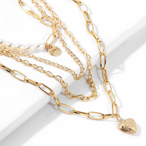 Multi Layering Heart Pendant Pearl Link Necklace