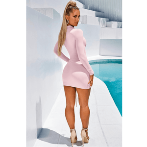 High Neck Ruched Drawstring Front Mini Dress