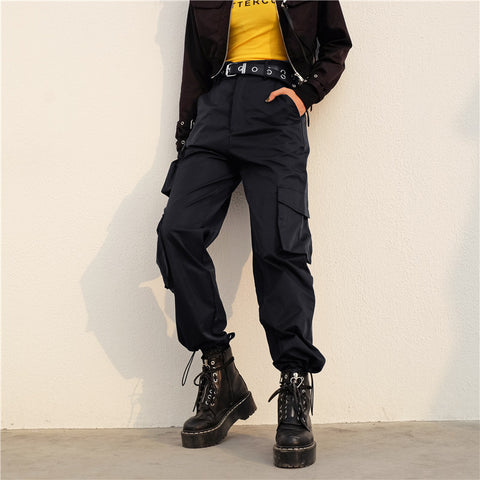 Solid Flap Pocket High Waist Cargo Pants