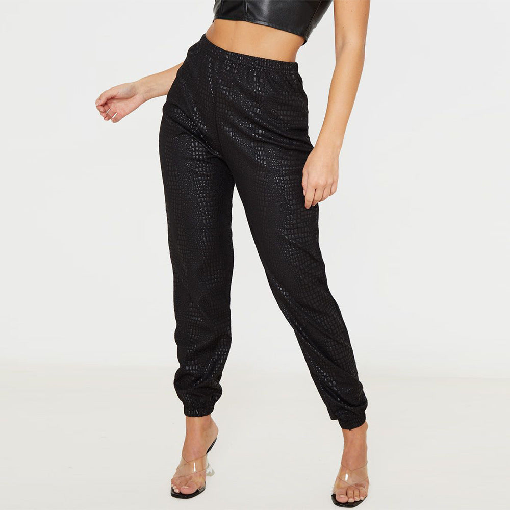 Solid Elastic Textured Pants