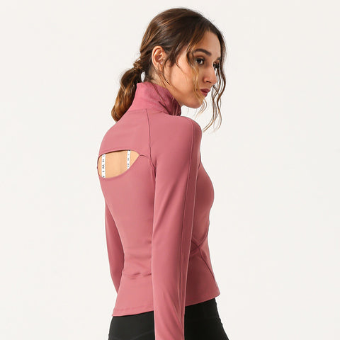 Half Zip Cut Out Sports Top with Thumb Holes
