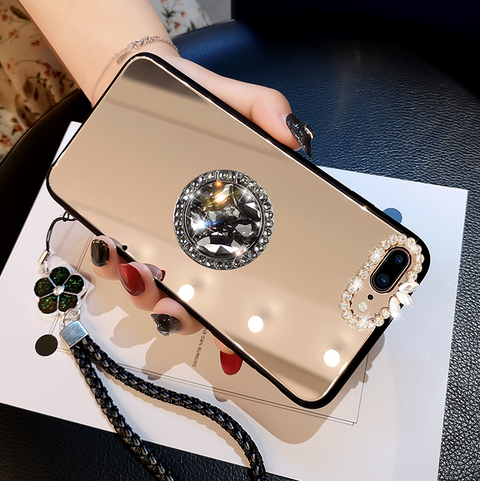 Mirror Rhinestone Side Phone Case for Samsung with Phone Holder gallery 7