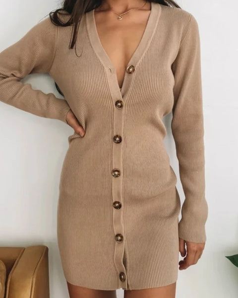 Button Front V-Neck Ribbed Knit Cardigan