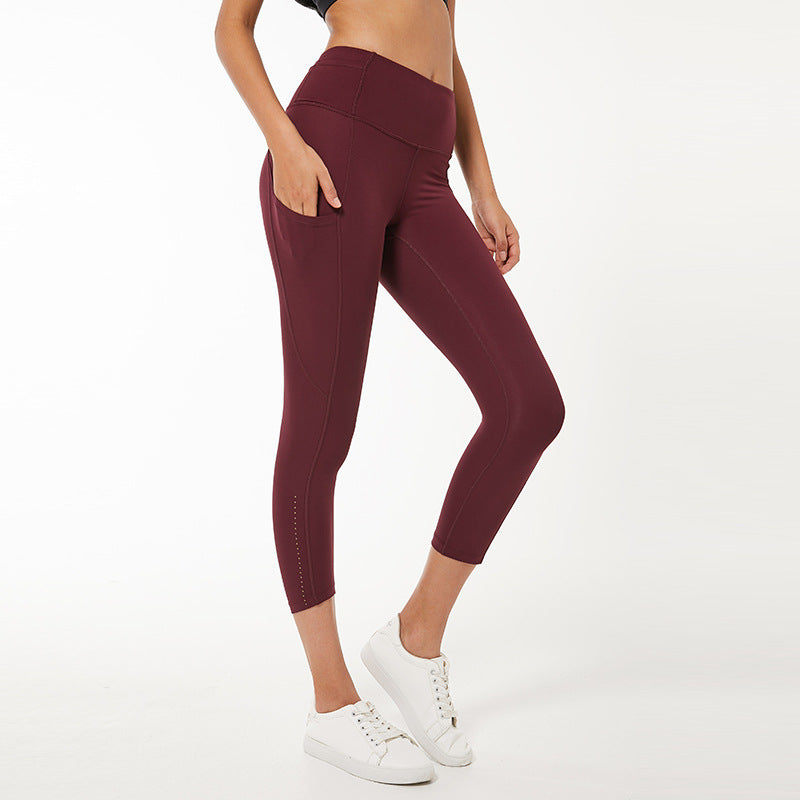 High Waist Side Pocket Stretch Capri Leggings