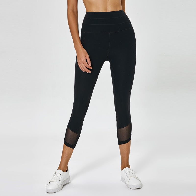 Mesh Panel High Waist Capri Leggings