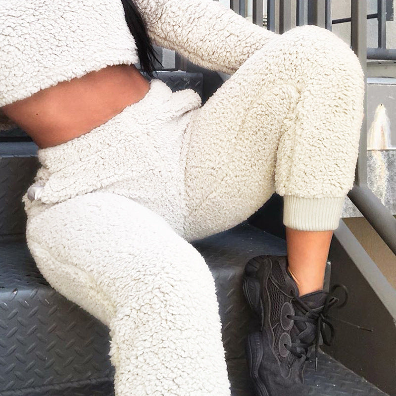 Elastic Waistband Faux Fur Pants