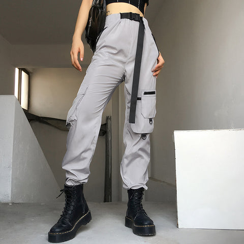 Buckle Belt Detail Asymmetric Pocket Cargo Pants
