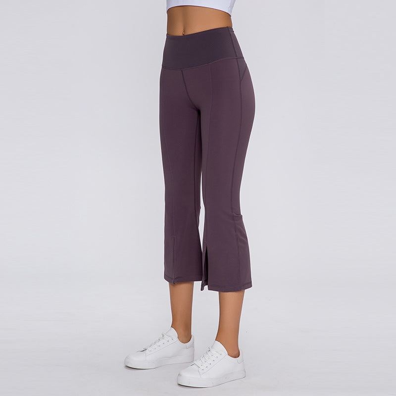 Solid Split Hem Flare Capri Leggings
