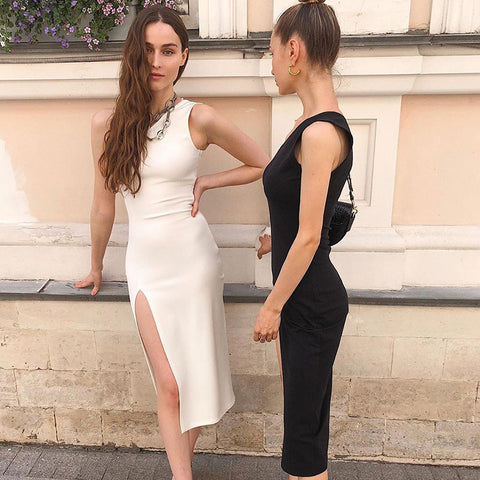 Oblique One Shoulder Side Slit Midi Dress