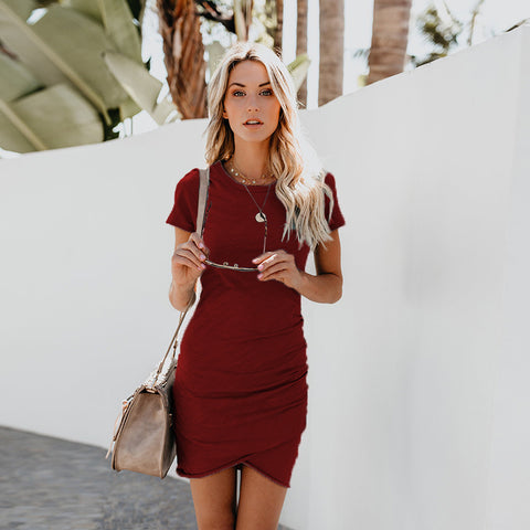Solid Ruched Asymmetric Scoop Neck Midi Dress