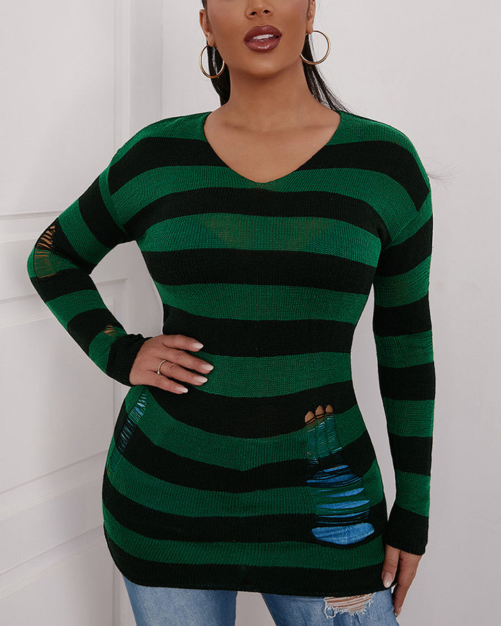 Colorblock Ripped Bodycon Sweater gallery 5
