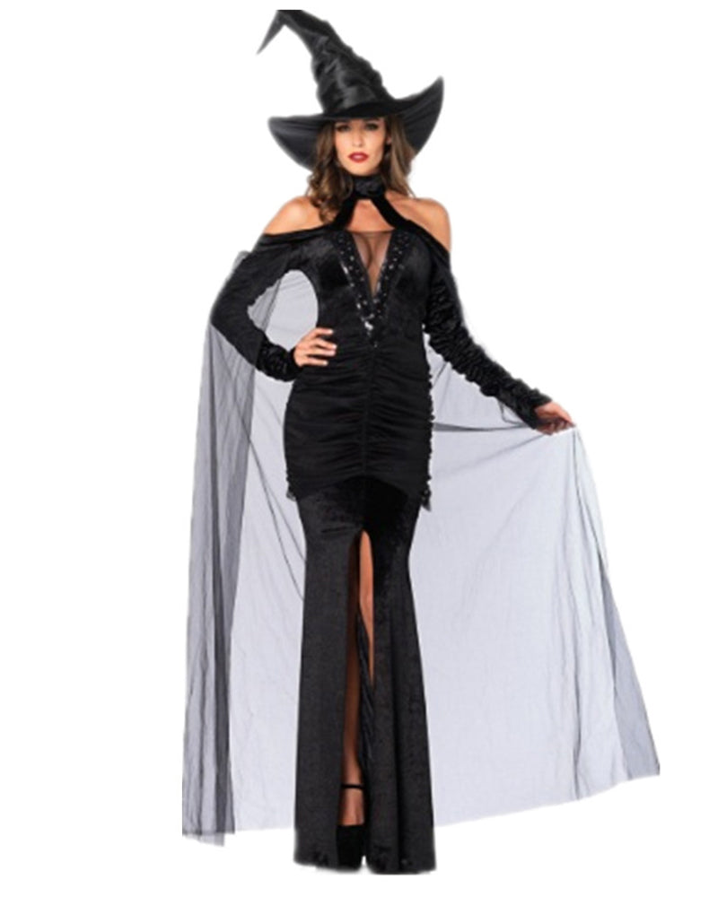 Ruched Split Hem Mesh Witch Costume Dress