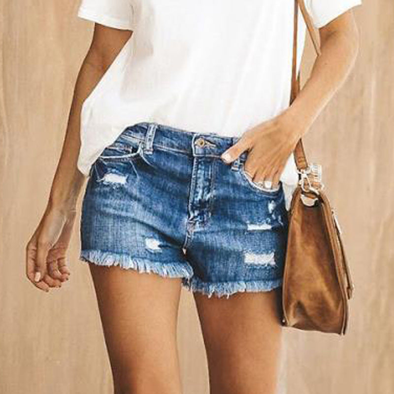 Ripped Frayed Hem Mid Waist Shorts
