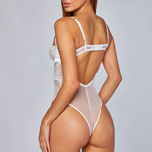 Criss Cross Front Cut Out Back Bodysuit
