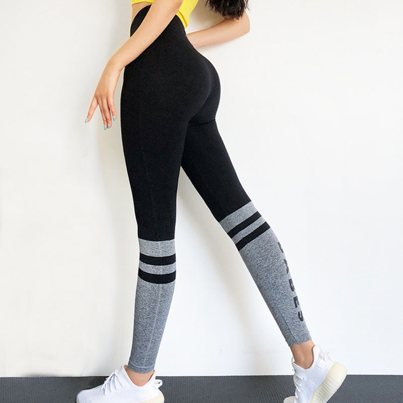 Letter Graphic Colorblock Sports Leggings
