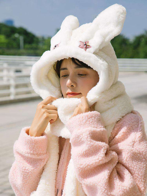 Women's Winter Rabbit Ear Fluffy Hat, Scarf, and Gloves Come in Three Pieces gallery 2
