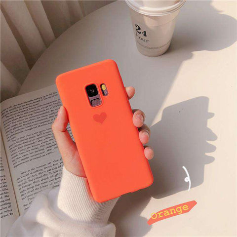 Silicone Solid Candy Color Heart Pattern Samsung Case gallery 3