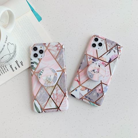 Rhombus Stitching Marble Phone Case for Samsung with Phone Holder gallery 9