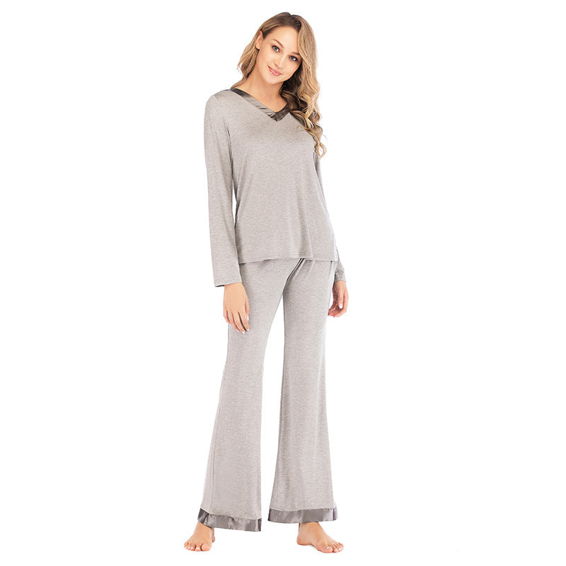 V-Neck Wide Leg PJ Set