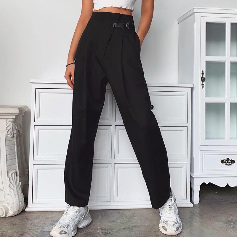 Solid Side Buckled Straight Leg Pants